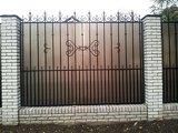 Забор с элементами ковки в Днепропетровске, закрытый поликарбонатом